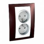 Complete Socket-outlet, PO/FR, double, 2P+E, White/Terracotta