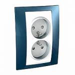 Complete Socket-outlet, PO/FR, double, 2P+E, White/Glacier blue