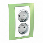 Complete Socket-outlet, PO/FR, double, 2P+E, White/Apple green