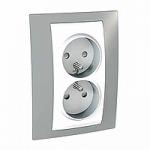 Complete Socket-outlet, PO/FR, double, 2P+E, White/Mist grey