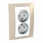 Complete Socket-outlet, PO/FR, double, 2P+E, White/Sand