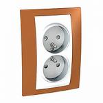 Complete Socket-outlet, PO/FR, double, 2P+E, White/Orange