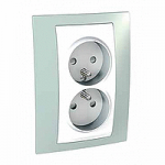 Complete Socket-outlet, PO/FR, double, 2P+E, White/Water green