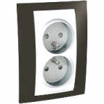 Complete Socket-outlet, PO/FR, double, 2P+E, White/Cacao