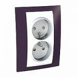 Complete Socket-outlet, PO/FR, double, 2P+E, White/Garnet