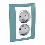 Complete Socket-outlet, PO/FR, double, 2P+E, White/Maganese blue