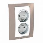 Complete Socket-outlet, PO/FR, double, 2P+E, White/Mink