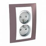 Complete Socket-outlet, PO/FR, double, 2P+E, White/Mauve