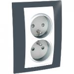 Complete Socket-outlet, PO/FR, double, 2P+E, White/Slate grey