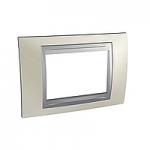 Italian Cover Frame Unica Top IT, Opal titanium/Aluminium, 3 modules