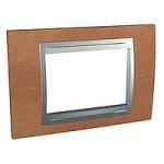 Italian Cover Frame Unica Top IT, Cherry tree/Aluminium, 3 modules