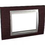 Italian Cover Frame Unica Top IT, Wengue/Aluminium, 3 modules