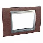 Italian Cover Frame Unica Top IT, Tobacco/Aluminium, 3 modules
