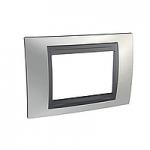 Italian Cover Frame Unica Top IT, Glossy chrome/Graphite, 3 modules