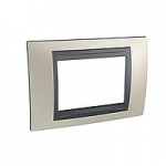 Italian Cover Frame Unica Top IT, Matt nickel/Graphite, 3 modules