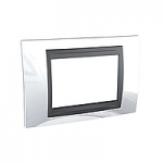 Italian Cover Frame Unica Top IT, Top White/Graphite, 3 modules