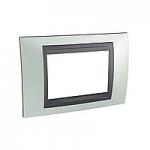 Italian Cover Frame Unica Top IT, Fluor green/Graphite, 3 modules