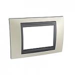 Italian Cover Frame Unica Top IT, Opal titanium/Graphite, 3 modules