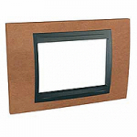 Italian Cover Frame Unica Top IT, Cherry tree/Graphite, 3 modules