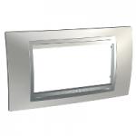 Italian Cover Frame Unica Top IT, Glossy chrome/Aluminium, 4 modules