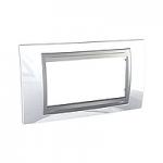 Italian Cover Frame Unica Top IT, Top White/Aluminium, 4 modules