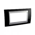 Italian Cover Frame Unica Top IT, Rhodium black/Aluminium, 4 modules