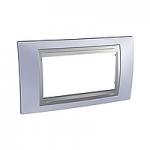 Italian Cover Frame Unica Top IT, Beryl blue/Aluminium, 4 modules
