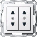 Italian-Double Socket-outlet, Active White