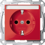 Socket-outletSCHUKO®, Shuttered, with label surface, Ruby red