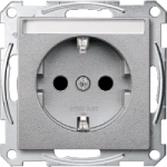 Socket-outletSCHUKO®, Shuttered, with label surface, Aluminium