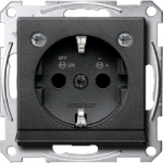 Socket-outletSCHUKO®, Shuttered, with label surface, with indicator lamp, Anthracite