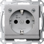 Socket-outletSCHUKO®, Shuttered, with label surface, with indicator lamp, Aluminium
