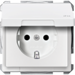 Socket-outletSCHUKO®, with hinged lid, Polar White, IP44