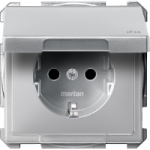 Socket-outletSCHUKO®, with hinged lid, Aluminium, IP44