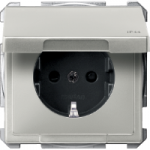 Socket-outletSCHUKO®, with hinged lid, Stainless steel, IP44