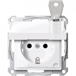 SCHUKO® Socket-outlet with hinged lid, lockable with various locks, White