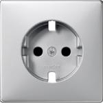 Central plate, shuttered forSCHUKO® socket-outlet Insert, Aluminium