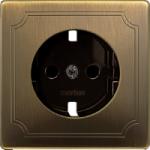 Central plate, shuttered forSCHUKO® socket-outlet Insert, Antique brass