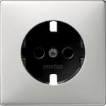 Central plate, shuttered forSCHUKO® socket-outlet Insert, Stainless steel