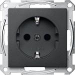Socket-outletSCHUKO® 16 A, AC 250 V, DIN 49440, shuttered, Anthracite