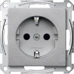Socket-outletSCHUKO® 16 A, AC 250 V, DIN 49440, shuttered, Aluminium