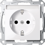 SCHUKO® socket-outlet with labelling field, shuttered, Active White