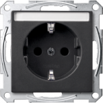 SCHUKO® socket-outlet with labelling field, shuttered, Anthracite