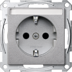 SCHUKO® socket-outlet with labelling field, shuttered, Aluminium