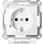 SCHUKO® socket-outlet with surge protection and labelling field, shuttered, Active White