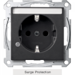 SCHUKO® socket-outlet with surge protection and labelling field, shuttered, Anthracite