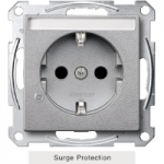 SCHUKO® socket-outlet with surge protection and labelling field, shuttered, Aluminium