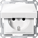 SCHUKO® socket-outlet with hinged lid, shuttered, Polar White  IP44