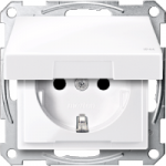 SCHUKO® socket-outlet with hinged lid, shuttered, Active White  IP44