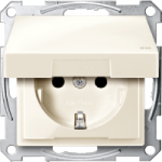 SCHUKO® socket-outlet with hinged lid, shuttered, White  IP44
